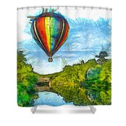 Hot Air Balloon Woodstock Vermont Pencil Shower Curtain