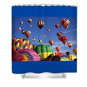 Beautiful Balloons On Blue Sky Shower Curtain