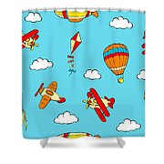 Hot Air Balloons And Airplanes Fly In The Sky Shower Curtain