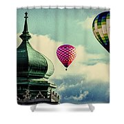 Hot Air Balloons Float Over Lewiston Maine Shower Curtain
