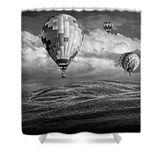 Hot Air Balloons In Black And White Over Fields Shower Curtain