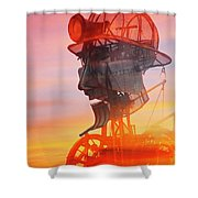 Hot And Steamy Man Engine Shower Curtain