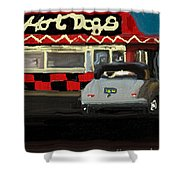 Hot Dogs And A Juke Box. Shower Curtain