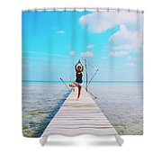 Hot Girl In White Jeans Doing Yoga On The Wooden Pier By The Sea Shower Curtain