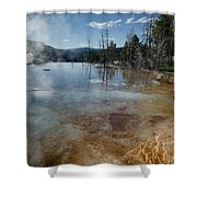 Hot Mammoth Springs Reflection Shower Curtain