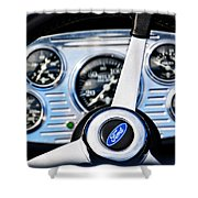 Hot Rod Ford Steering Wheel Shower Curtain