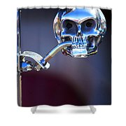 Hot Rod Skull Rear View Mirror Shower Curtain