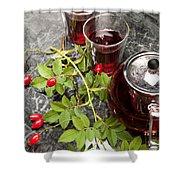 Hot Rosehip Tea In Glass Shower Curtain