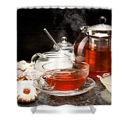 Hot Steaming Tea With Christmas Biscuits Shower Curtain