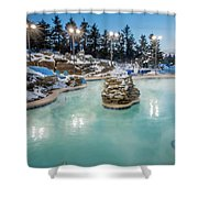 Hot Tubs And Ingound Heated Pool At A Mountain Village In Winter Shower Curtain