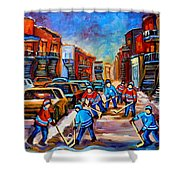 Hotel De Ville Montreal Hockey Street Scene Shower Curtain