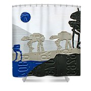 Hoth Star Wars Scene Panorama Made Using Vintage Recycled License Plates On White Wood Plank Shower Curtain
