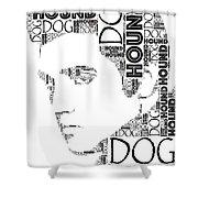 Hound Dog Elvis Wordart Shower Curtain