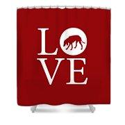 Hound Dog Love Red Shower Curtain