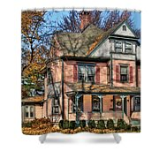 House - I Want That Big Pink House Shower Curtain by Mike Savad