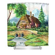 House Along The River Shower Curtain