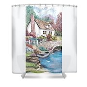 House And Bridge Shower Curtain