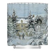House At Montfoucault Shower Curtain by Camille Pissarro