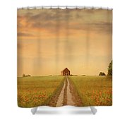 House At The End Of A Track In A Poppy Field Shower Curtain