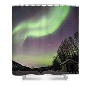 House, Aurora, Night Sky At Alaska, Fairbanks Shower Curtain