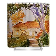 House Beside Mountain Shower Curtain
