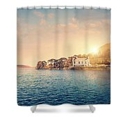 House By A Lake At Sunset Shower Curtain