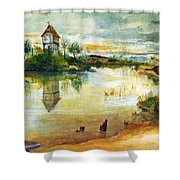 House By A Pond Shower Curtain