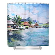 House By The Lagoon In French Polynesia Shower Curtain