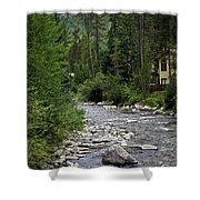 House By The Stream In Vail 1 Shower Curtain