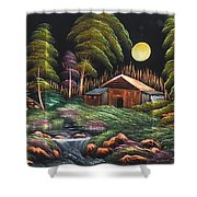 House In Night At Beautiful Site Shower Curtain