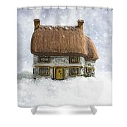 House In Snow Shower Curtain