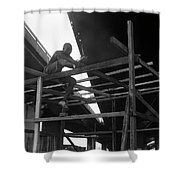 Wooden House Construction Shower Curtain