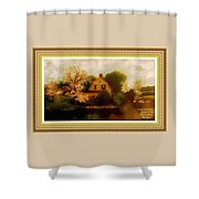House Near The River. L A With Decorative Ornate Printed Frame. Shower Curtain