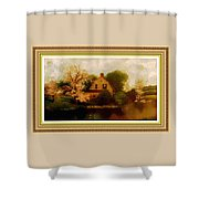 House Near The River. L B With Decorative Ornate Printed Frame. Shower Curtain