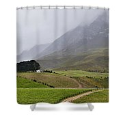 House On A Hill In The Mist Shower Curtain
