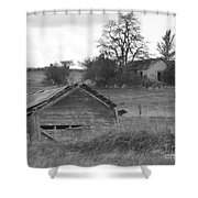 House On The Hill In Black And White Shower Curtain by Charles Robinson