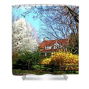 House On The Hill In Spring Shower Curtain