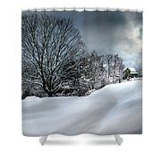 House On The Hill Winters In Vermont Shower Curtain