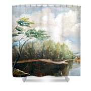 House On The Lake Shower Curtain