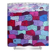 House On Top Of Patchwork Hill Shower Curtain