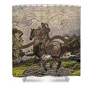 House Statue In The Field Shower Curtain