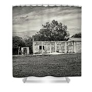 House With Outbuildings Shower Curtain