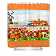 House With Tulips  In Holland Painting Shower Curtain
