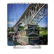 Houseboat And Aurora Bridge Seattle Shower Curtain