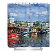Houseboats - 3 - Lake Union - Seattle Shower Curtain