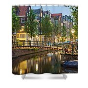 Houses Along Canal At Dusk Shower Curtain