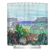 Houses At Whalehead Beach Shower Curtain