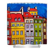 Houses In The Oldtown Of Warsaw Shower Curtain