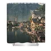 Houses Line The Lake Of Hallstatt Shower Curtain