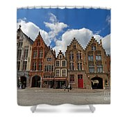 Houses Of Jan Van Eyck Square In Bruges Belgium Shower Curtain
